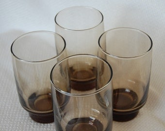 Set of 4 Vintage Libbey Glasses Tawny Accent 12 oz Flat Tumbler Rock Sharpe Pattern Footed Smokey Brown Beverage