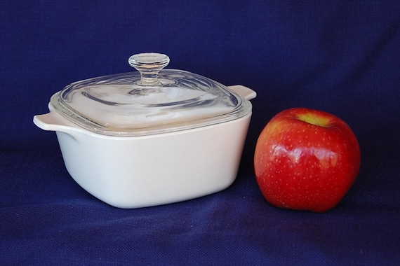RESERVED LID Only Vintage Corning Ware Petite Pan P-43-B 2.75 Cup size with Pyrex cover in Just White great for side dishes or single meals