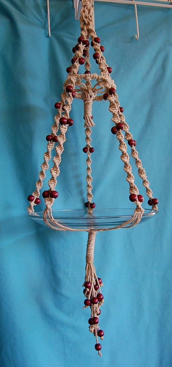 Hemp Macrame Plant Hanger with Cranberry Wood Beads Small Size Big Design Handmade by FunkyJunky