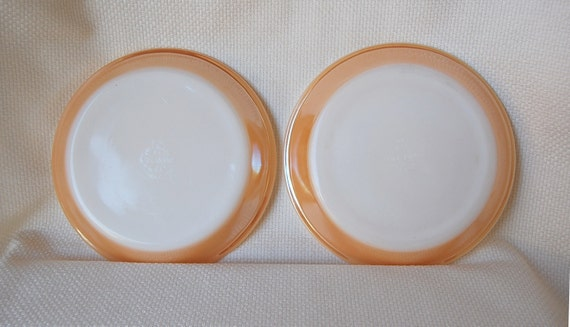 RESERVED --------------- Set of 2 Fire King 9 inch Milk Glass Pie Plates in Copper Tint aka Peach Lustre