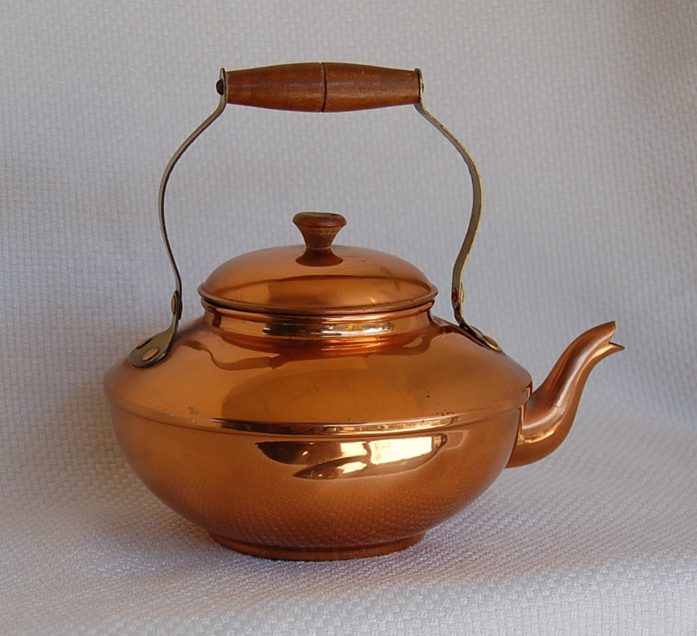 Vintage Copper Tea Kettle Solid Copper Made In Portugal
