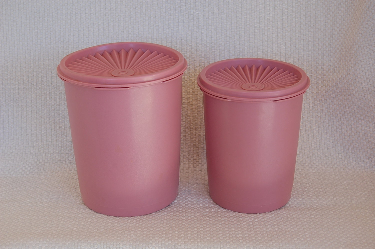 Pink Canister Set >> Vintage Pink Tupperware Canisters Set of 2 smallest 2 from the