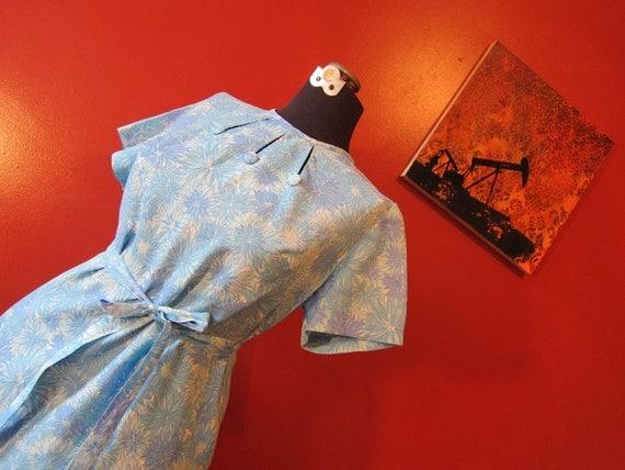 Day Dress chiffon PLUS SIZE 1960s blue floral print