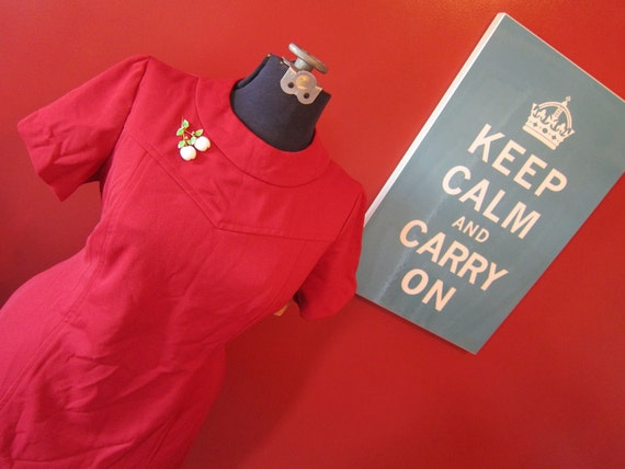 1960s PLUS SIZE cherry red mod dress NOS deadstock
