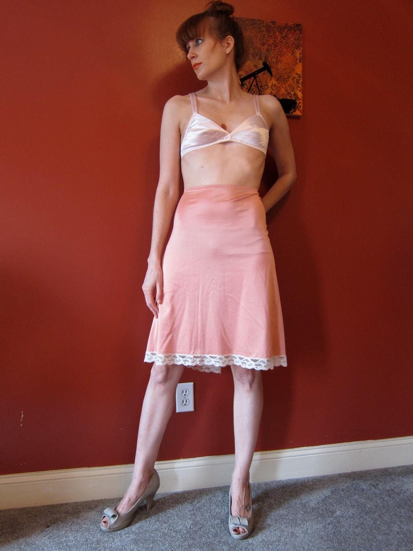 1960s Vanity Fair Vf Half Slip Rose Pink Pinup Satin Long M