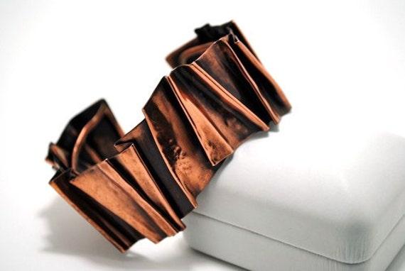 Fold formed copper bracelet, cuff