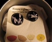 Black and silver dragonfly earrings , fused glass. sterling silver post
