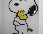 Snoopy and Woodstock , Hand painted, 2 layers of glass. light sensitive NIGHTLIGHT