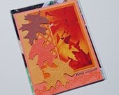 Handmade Birthday Card - upcycled paint chip samples - orange yellow brown leaves