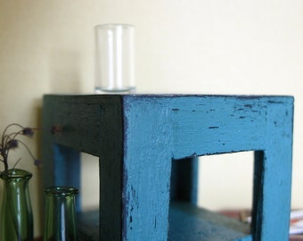 Distressed  teal side table