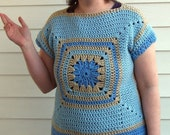 Crochet pattern short sleeve sweater granny square and boat neck PDF pattern