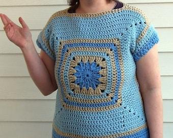 Crochet pattern short sleeve sweater granny square and boat neck PDF pattern