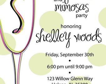 Champagne Glass Monograms and Mimosas Party Invitation