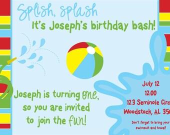 Splish Splash Birthday Invitation; Summer Birthday Custom Invitation; Printable Digital File