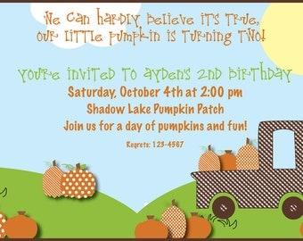 Pumpkin Patch Birthday Invitation; Fall Pumpkin and Truck Birthday Invitation; Custom Digital File