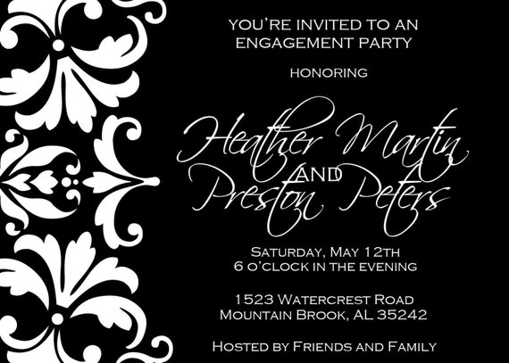 Black and white damask engagement party invitation for Etsy engagement party invites