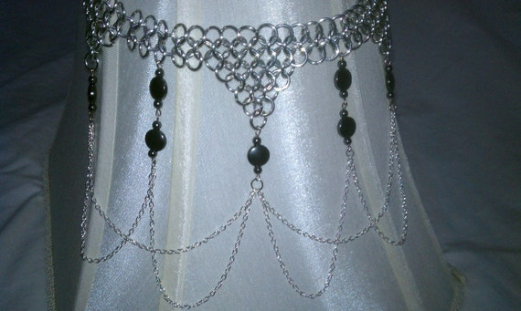 Chainmail Necklace with Hematite Beads and Draping Chain
