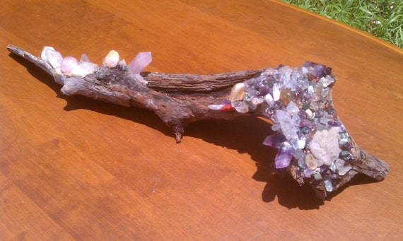 Crystal Wonderland - Crystal and Driftwood Sculpture AND Incense Burner - Free Shipping to the United States