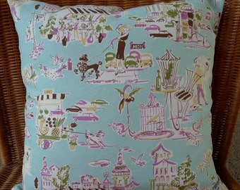 "Pillow Cover ""Poodles/France"" in Pale Turquoise"