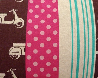 Pillow Cover in Vespa Scooter Print in Pink, Brown & Turquoise Linen/Cotton, Echino Fabric Made in Japan