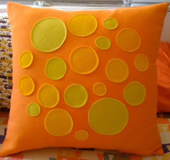 Pillow Cover ooak You Are My Sunshine Wool & Wool Felt DOTS