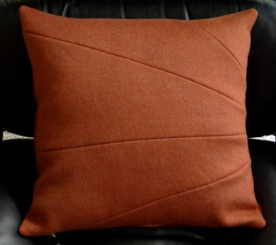Rusty Brick Red Orange Wool & Cashmere SUNRAY Pillow Cover ooak SUPER Soft