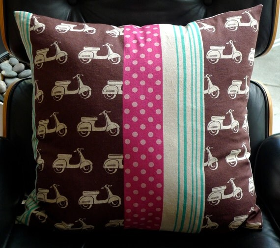 Big Pillow Cover in Vespa Scooter Print - Pink, Brown & Turquoise Linen/Cotton, Echino Fabric Made in Japan