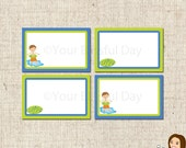 PRINTABLE Boy Pool Party Label Tents #572