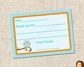 PRINTABLE Boy Owl Fill-in-the-Blank Thank You Cards #561