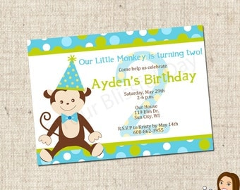 PRINTABLE Boy Monkey Party Invitations #554