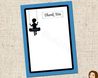 PRINTABLE Boy Silhouette Thank You Cards (Personalized) #582
