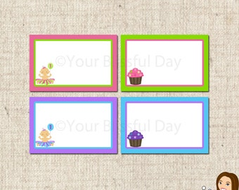 PRINTABLE 1st Birthday Girl Party Label Tents