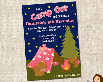 PRINTABLE Girl Camp Out Party Invitations #513