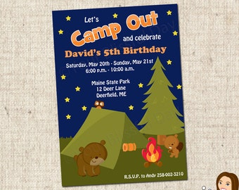 PRINTABLE Boy Camp Out Party Invitations #513