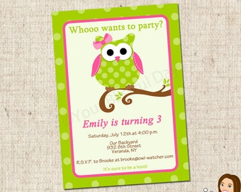 PRINTABLE Girl Owl Party Invitations #561