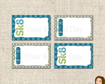 PRINTABLE Skateboard Party Label Tents #583