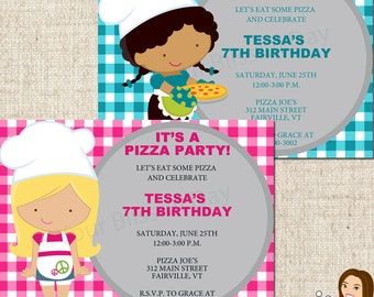 PRINTABLE Girl Pizza Party Invitation (Character of your choice) #570