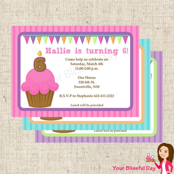 PRINTABLE Bright Cupcake Party Invitations (Customizable) #512