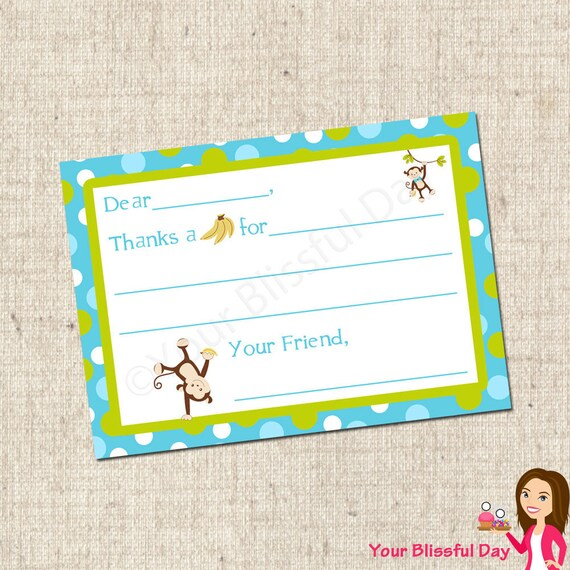 PRINTABLE Boy Monkey Fill-in-the-Blank Thank You Cards #554