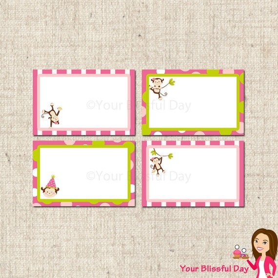 PRINTABLE Girl Monkey Label Tents #554