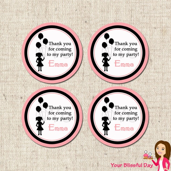 PRINTABLE Girl Silhouette Favor Tags (Personalized) #582