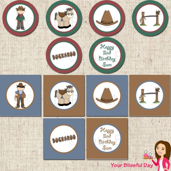 PRINTABLE Cowboy Party Circles (Personalized) #523