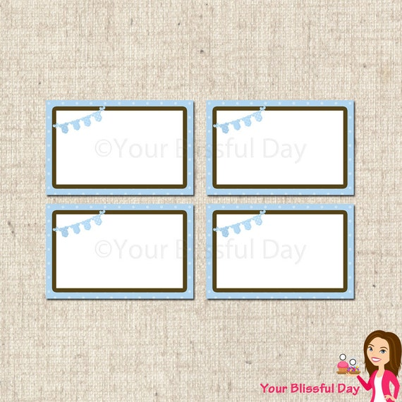 PRINTABLE Baby Boy Onesie Clothesline Baby Shower Label Tents #201