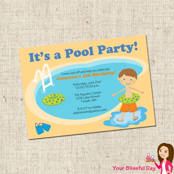 PRINTABLE Boy Pool Party Invitation #572