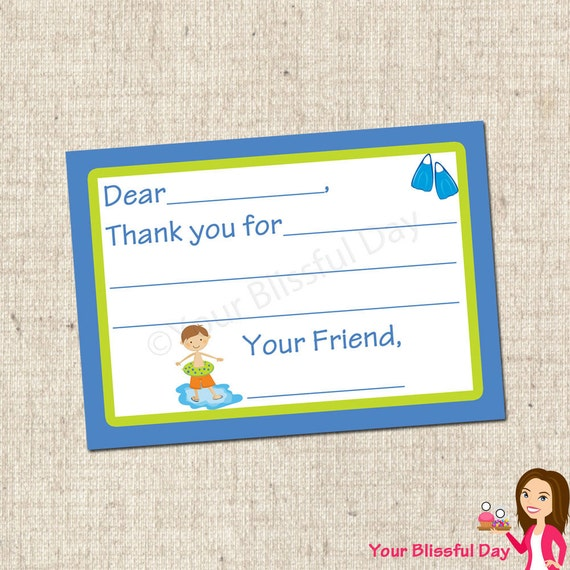 PRINTABLE Boy Pool Party Fill-in-the-Blank Thank You Cards #572