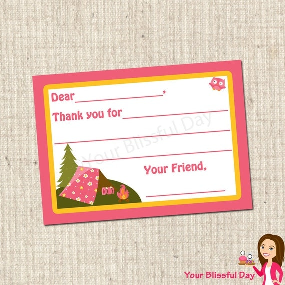 PRINTABLE Girl Camp Out Fill-in-the-Blank Thank You Cards #513