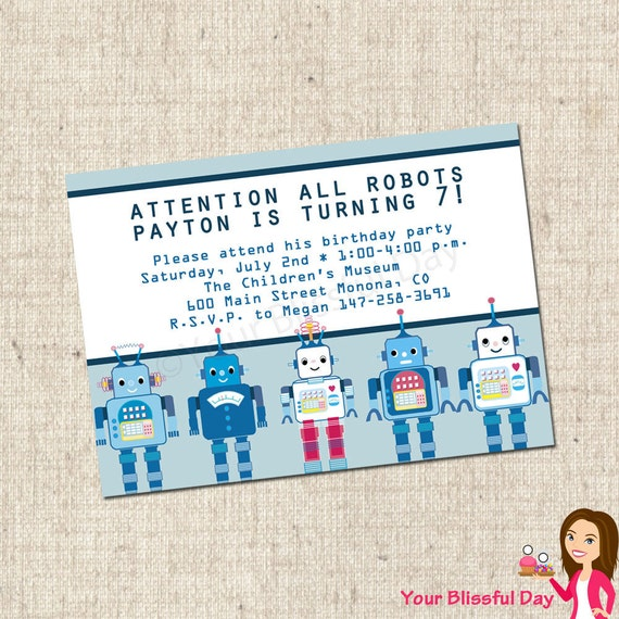 PRINTABLE Robot Party Invitations #577