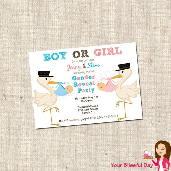 printable gender reveal baby shower invitations by yourblissfulday