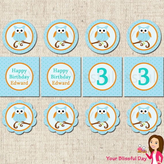 PRINTABLE Boy Owl Party Circles (Personalized) #561