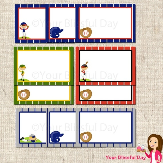 PRINTABLE Boy Baseball Party Label Tents #510